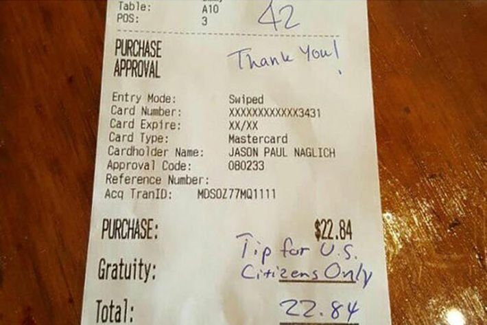 Customers Generously Tip Waitress Who Received a Racist Receipt – Racist Birthday Cards