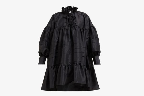 Macy ruffled-neck sateen shirtdress