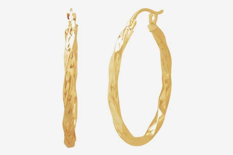 10KT Gold Diamond-Cut Square Twist Earrings