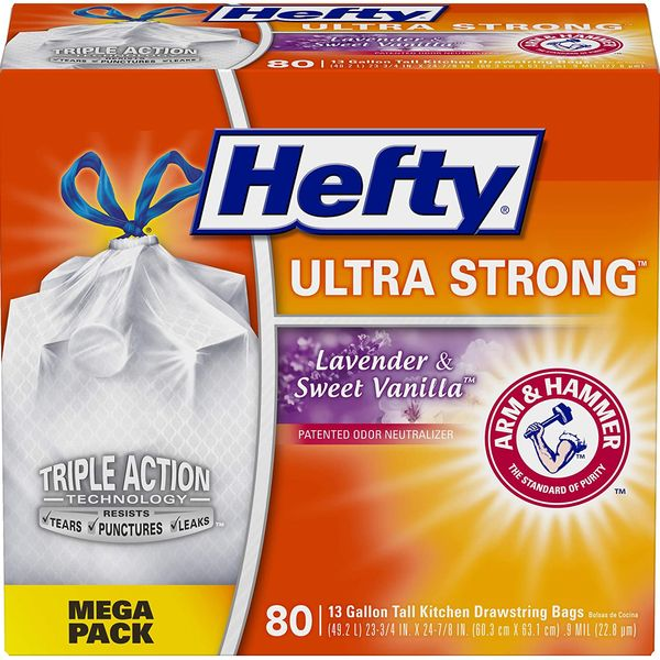 Hefty Ultra Strong Tall Kitchen Trash Bags, Lavender and Sweet Vanilla Scent