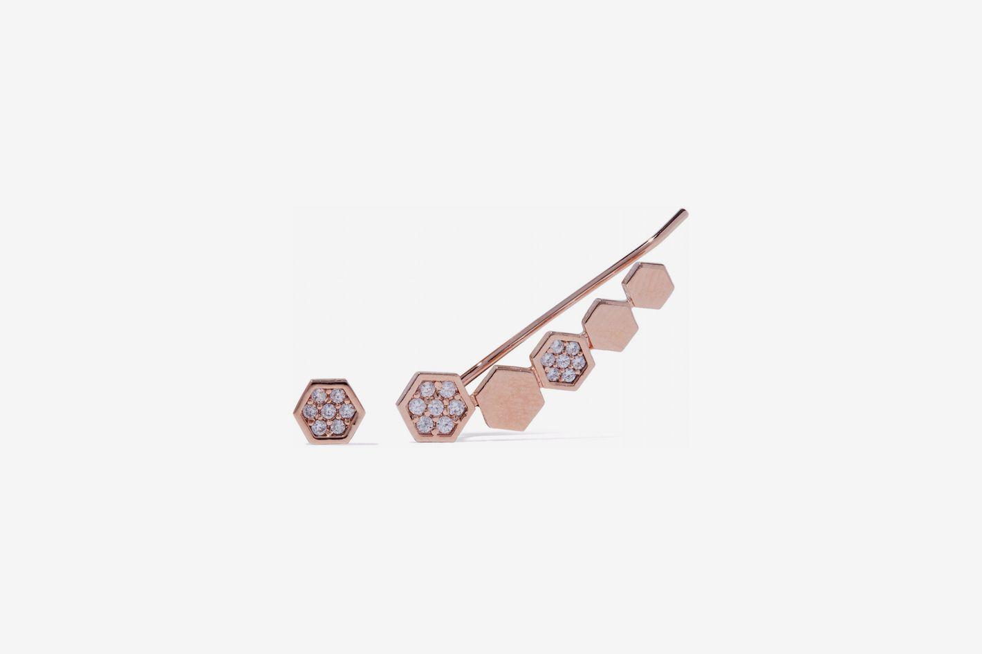 Astrid & Miyu Black Magic 18-Karat Rose Gold-Plated Crystal Ear Cuff