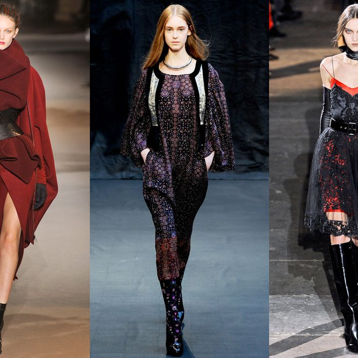 From left: looks from Haider Ackermann, Hermes, and Givenchy