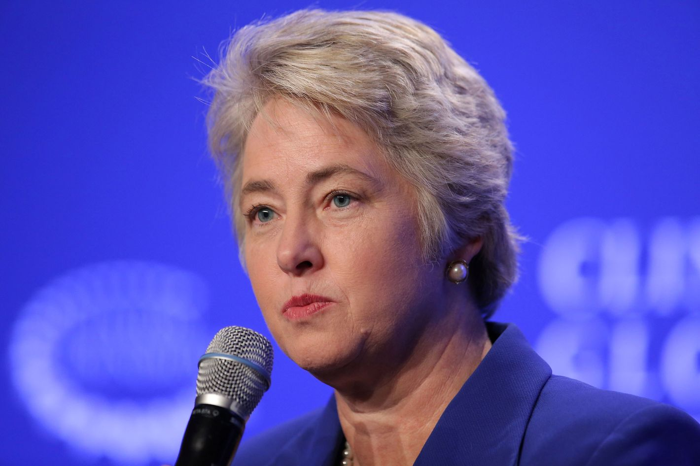 "Mayor Annise Parker of Houston speaks at a press conference on ""Mayor's National Climate Change Action Agenda during the second day of the Clinton Global Initiative's 10th Annual Meeting at the Sheraton New York Hotel & Towers on September 22, 2014 in New York City."