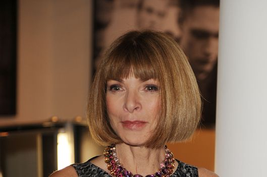 Anna Wintour visits backstage ahead of the Rag & Bone show on day 2 of London Fashion Week Spring/Summer 2013, at Sloane Square on September 15, 2012 in London, England.