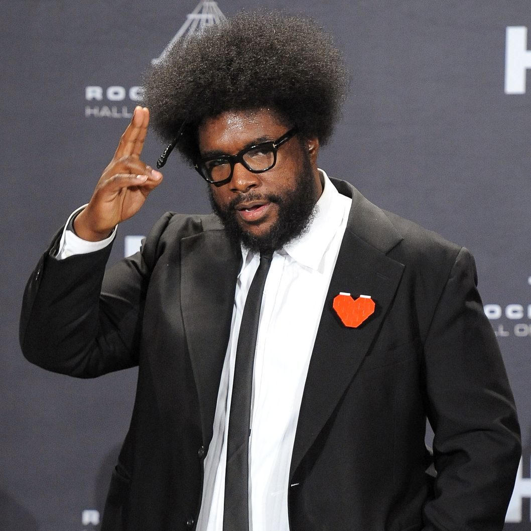 Questlove poses in the press room during the 27th Annual Rock And Roll Hall of Fame Induction Ceremony at Public Hall on April 14, 2012 in Cleveland, Ohio.