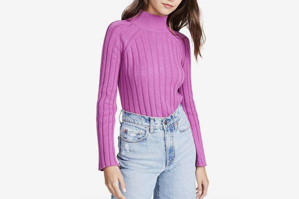 Bop Basics Women's Wide Rib Turtleneck Sweater
