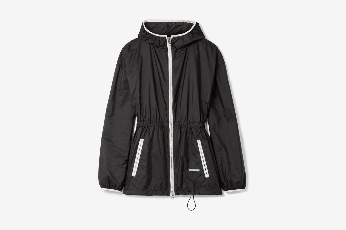 Prada Hooded Gathered Shell Jacket