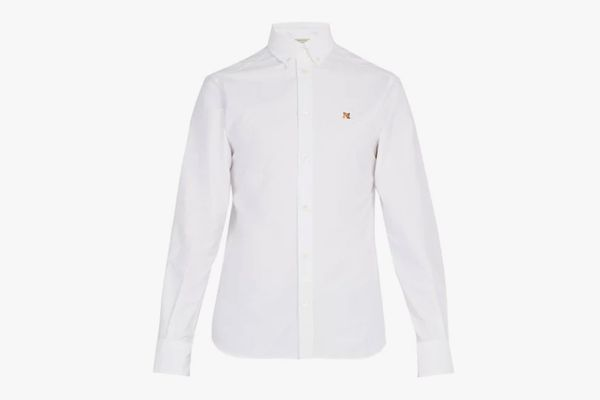 Maison Kitsune Logo-Embroidered Cotton Oxford Shirt