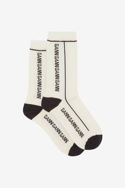 Ganni Logo-Jacquard Merino Wool-blend Socks