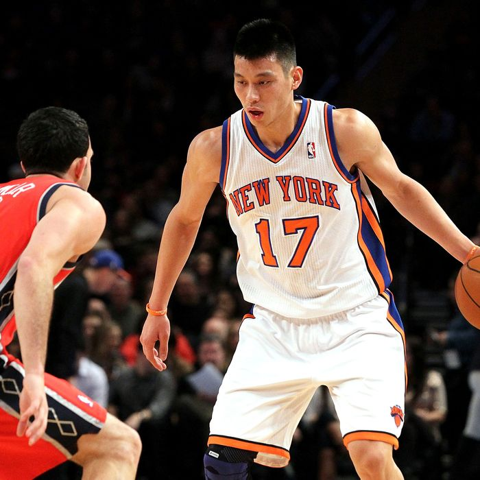 Jeremy Lin #17 of the New York Knicks in action against Jordan Farmar #2 of the New Jersey Nets on February 4, 2012 at Madison Square Garden in New York City. The Knicks defeated the Nets 99-92.