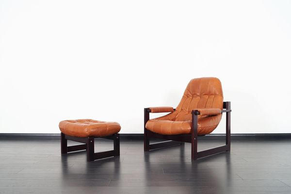 Percival Lafer Brazilian Leather Lounge Chair and Ottoman