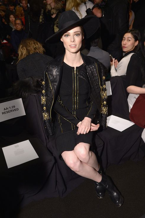 NEW YORK, NY - FEBRUARY 08:  Model Coco Rocha attends the Herve Leger By Max Azria fashion show during Mercedes-Benz Fashion Week Fall 2014 at The Theatre at Lincoln Center on February 8, 2014 in New York City.  (Photo by Michael Loccisano/Getty Images for Mercedes-Benz Fashion Week)