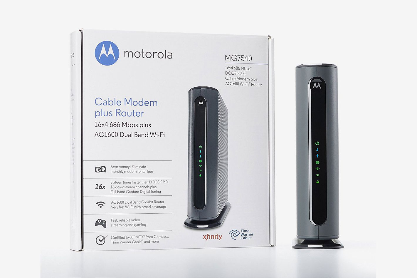 Motorola MG7540 Cable Modem Plus Dual Band Wi-Fi Gigabit Router