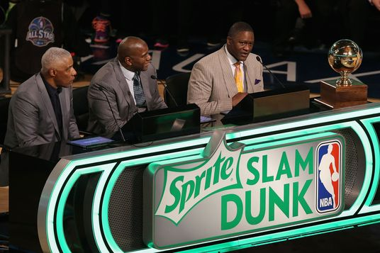 NEW ORLEANS, LA - FEBRUARY 15:  Sprite Slam Dunk Contest 2014 judges (L-R) Julius Erving, Magic Johnson and Dominique Wilkins take part of the 2014 NBA All-Star Weekend at the Smoothie King Center on February 15, 2014 in New Orleans, Louisiana. NOTE TO USER: User expressly acknowledges and agrees that, by downloading and or using this photograph, User is consenting to the terms and conditions of the Getty Images License Agreement.  (Photo by Christian Petersen/Getty Images)