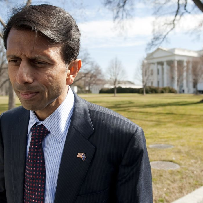 Louisiana Republican Governor Bobby Jindal speaks to the media on the North Lawn of the White House in Washington, DC, February 27, 2012, following a meeting of the National Governors Association with US President Barack Obama. AFP PHOTO / Saul LOEB (Photo credit should read SAUL LOEB/AFP/Getty Images)