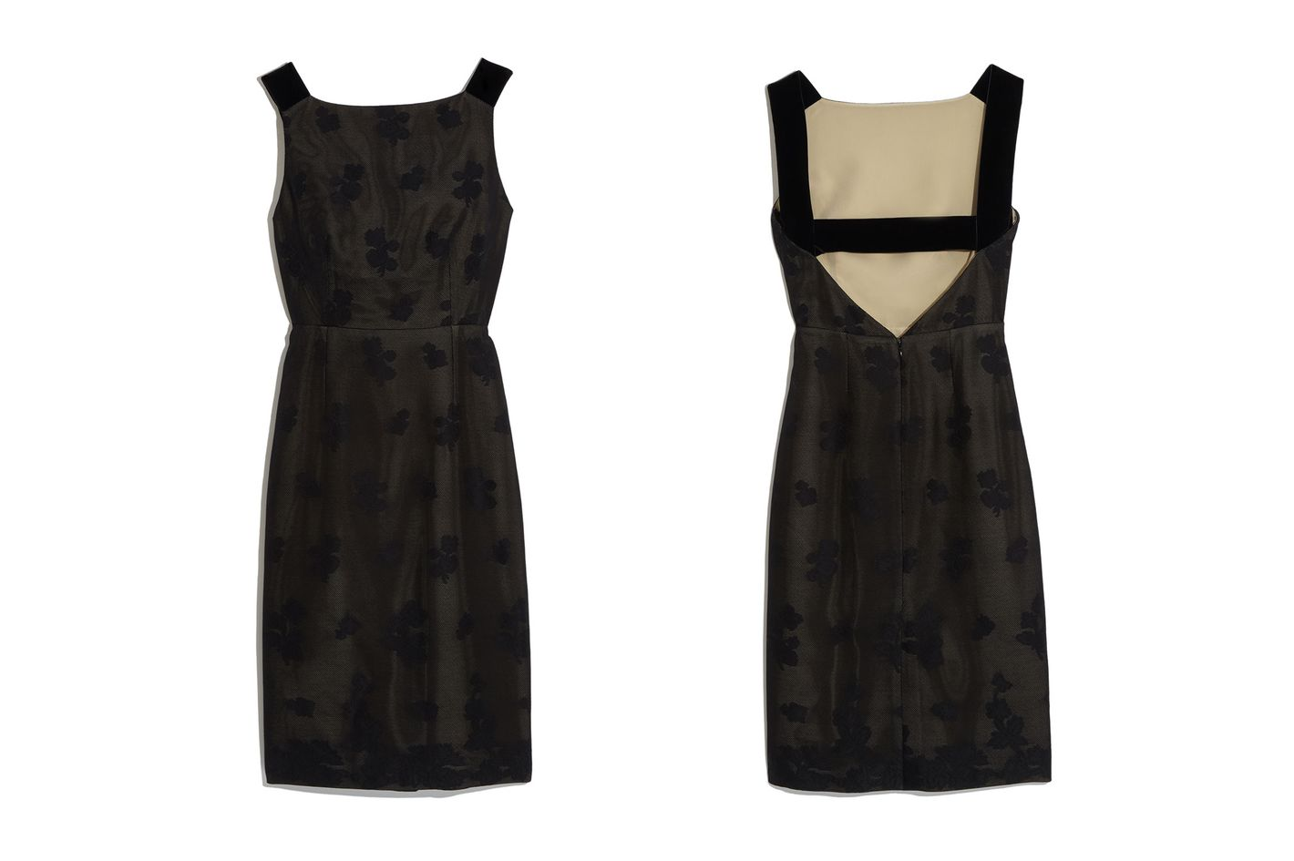 Prada Silk Jacquard Cross V-Back Sheath Dress