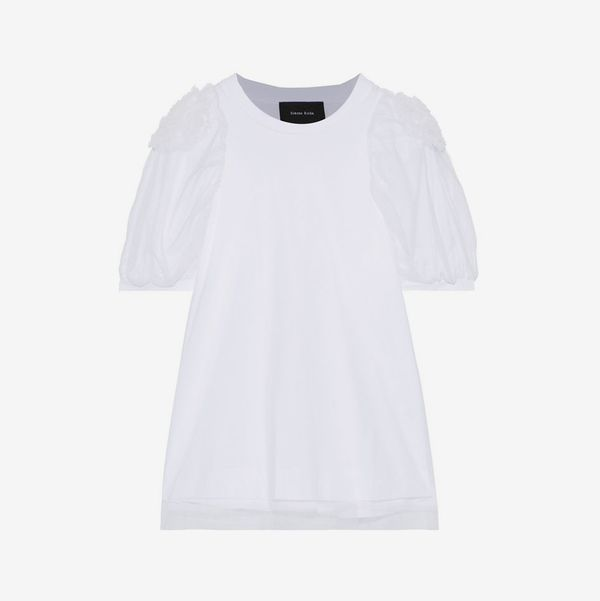 Simone Rocha Layered floral-appliquéd tulle and cotton-jersey top