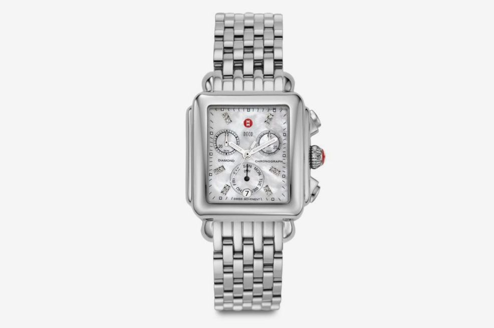 Michele Watches Deco 18 Diamond, Mother-Of-Pearl & Stainless Steel Chronograph Bracelet Watch