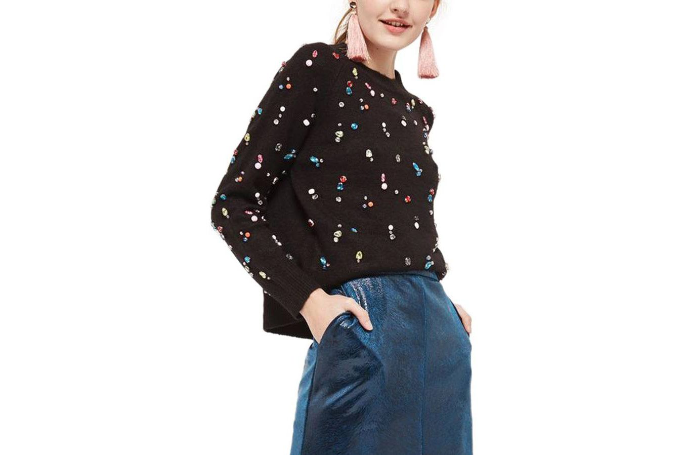 Topshop Jewelled Sweater