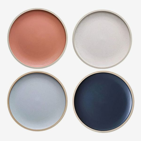 MDZF Sweet Home 8.3-Inch Porcelain Dinner Plates, Set of 4