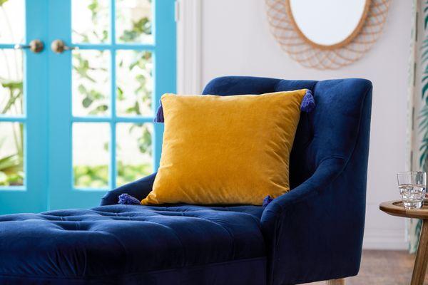 Drew Barrymore Flower Home Velvet Decorative Throw Pillow with Tassels, 20x20