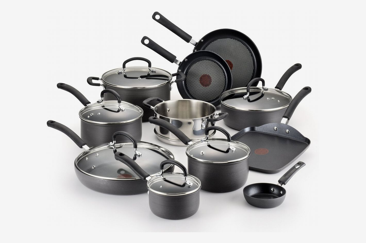 T Fal Hard Anodized Cookware Set Nonstick Pots And Pans 17 Piece