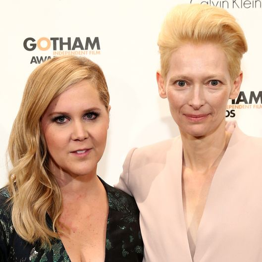 NEW YORK, NY - DECEMBER 01:  Amy Schumer (L) and Tilda Swinton attend IFP's 24th Gotham Independent Film Awards at Cipriani, Wall Street on December 1, 2014 in New York City.  (Photo by Neilson Barnard/Getty Images for IFP)