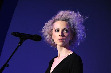 Singer/musician St. Vincent performs at the American Express UNSTAGED Fashion with DVF at Spring Studios on February 9, 2014 in New York City.