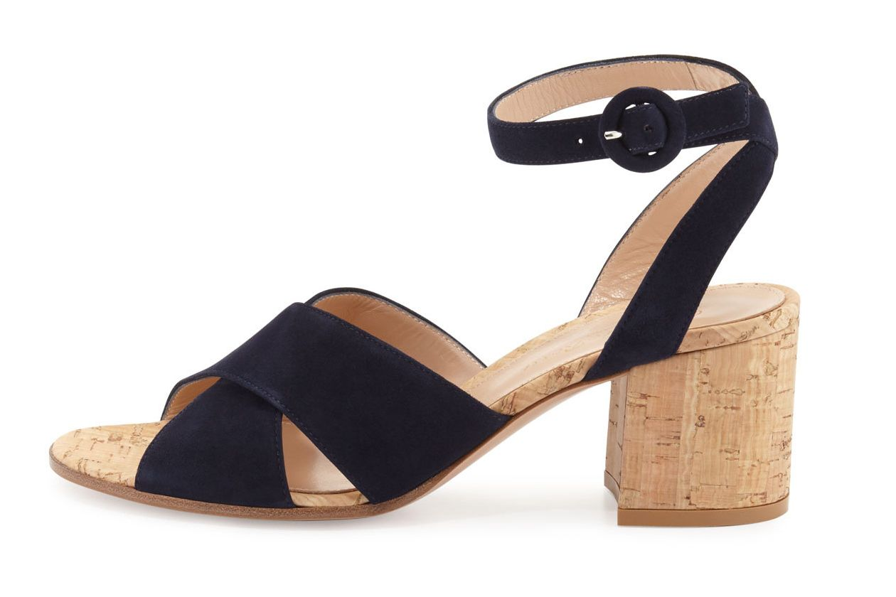 Gianvito Rossi Suede Ankle-Wrap Sandal
