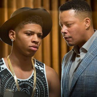 EMPIRE: Lucious (Terrence Howard, R) talks to Hakeem (Bryshere Gray, L) in the
