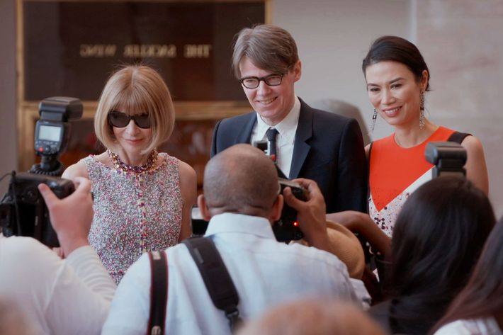 Anna Wintour, Andrew Bolton and Wendi Deng.
