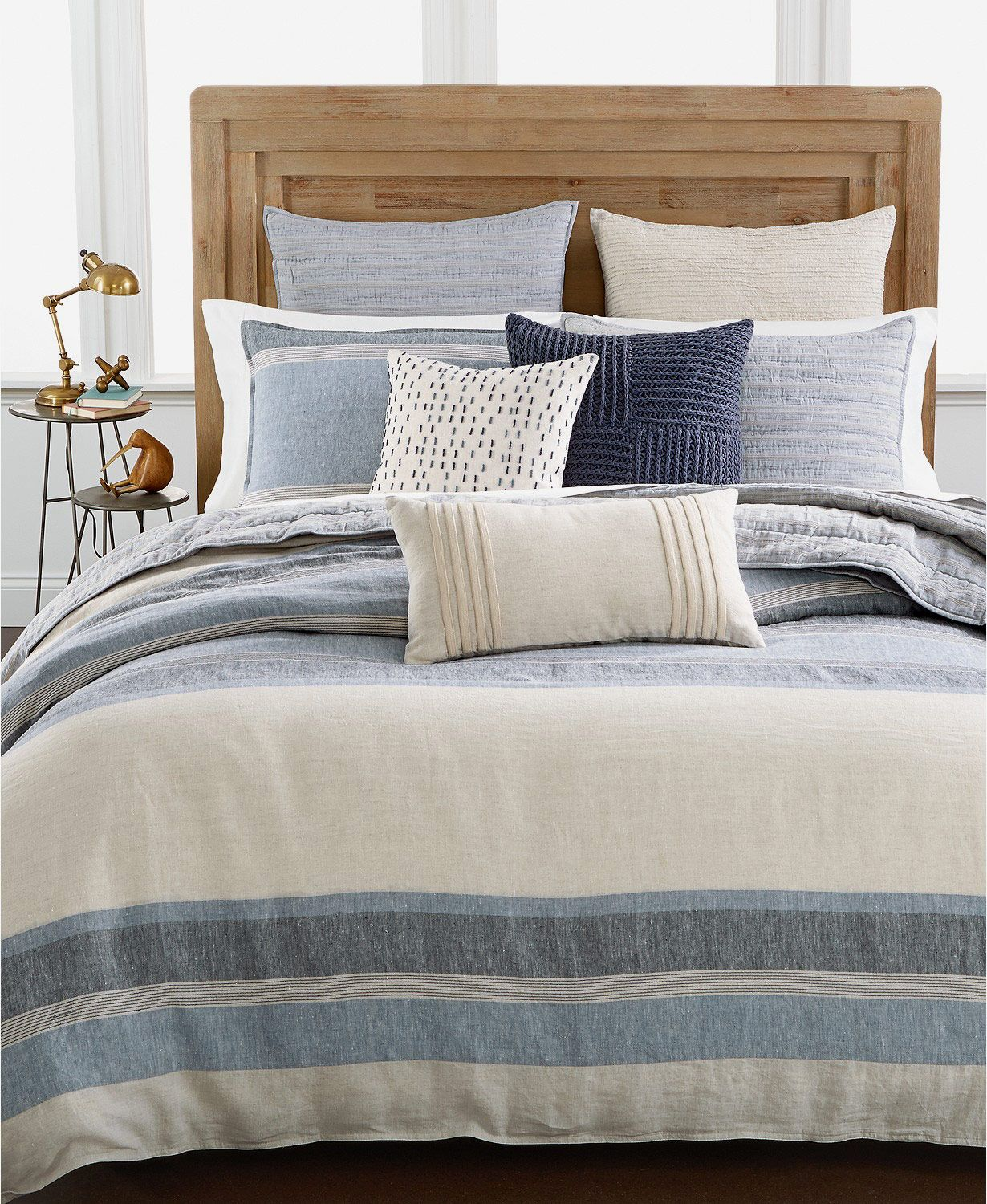Hotel Collection Linen Stripe Full/Queen Duvet Cover