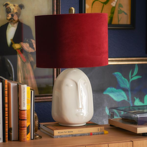 Drew Barrymore Flower Home The Forgotten Era Ceramic Face Lamp With Venetian Wine Velvet Shade