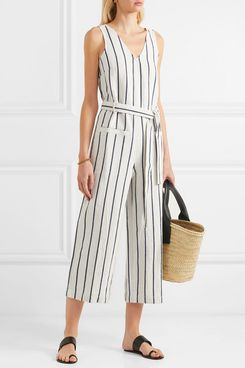 Madewell Striped Cotton and Linen-blend Jumpsuit