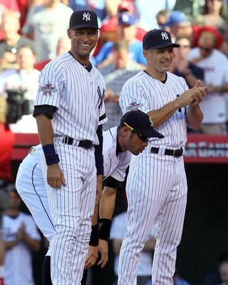 Derek Jeter and Manager Joe Girardi of the New York Yankees during the 81st MLB All-Star Game at Angel Stadium.