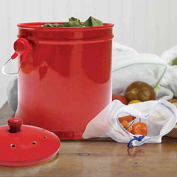 Natural Home 1-Gallon Ceramic Compost Bin in White