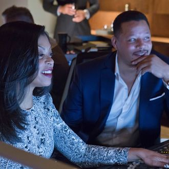 Cookie (Taraji P. Henson, L) and Lucious (Terrence Howard, R) produce an album in the