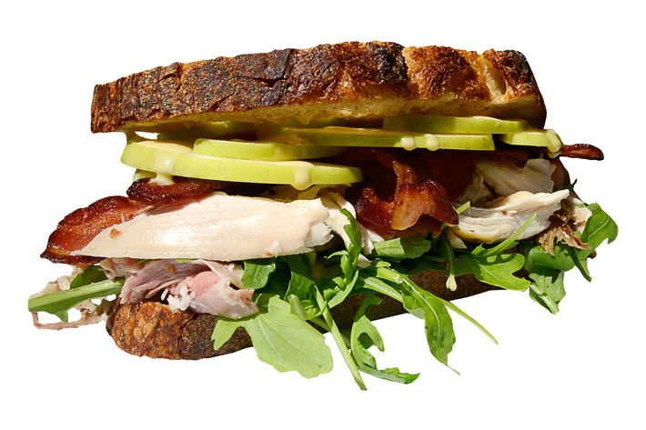 Smoked-chicken club with housemade bacon and GoldRush apples.