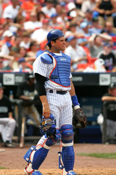Catcher Mike Piazza #31 of the New York Mets is on the field during the game against the Florida Marlins at Shea Stadium on July 2, 2005 in Flushing, New York. The Marlins won 7-3.