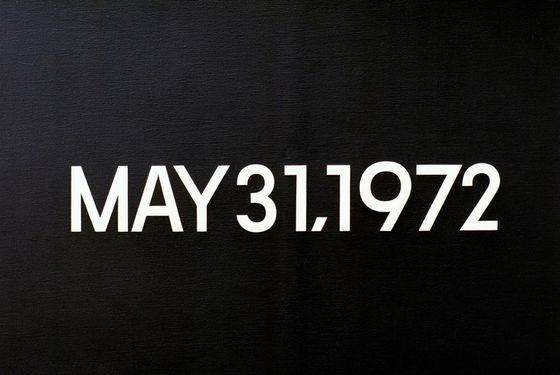 "Kawara, On; Japanese artist; born 1933.-""May 31, 1972"" (Israeli Leaders called today for a boycott of Beirut by international airlines). Today series, no. 43, 1972. Liquitex on canvas, 45.5 x 61.5 cm. FER Collection, Ulm, Germany."