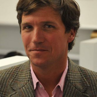 Tucker Carlson, a conservative pundit, at the office of the new website, the Daily Caller, on January 6, 2010, in Washington, DC.