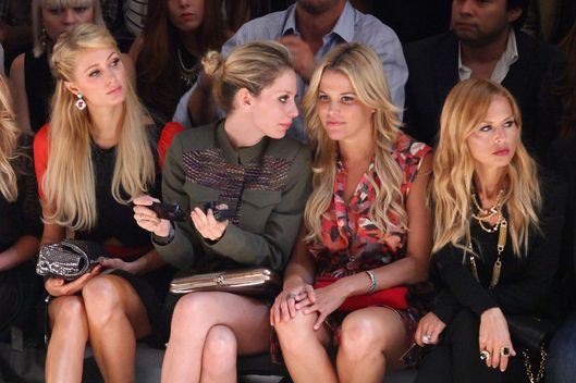 (L-R) Paris Hilton, Corey Kennedy, Ali Wise and Rachel Zoe attend the Charlotte Ronson SS13 Show at The Stage at Lincoln Center on September 7, 2012 in New York City.