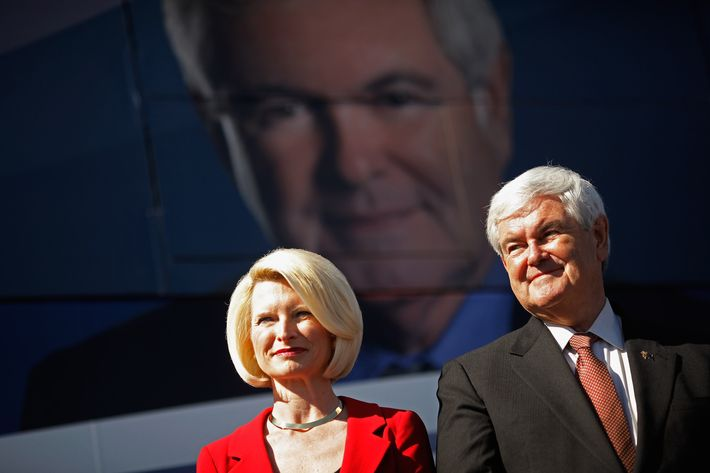 """SUMTER COUNTY, FL - JANUARY 29:  Republican presidential candidate and former Speaker of the House Newt Gingrich (R-GA) (R) and his wife Callista Gingrich hold a campaign rally at The Villages, master-planned age-restricted retirement community, January 29, 2012 in Sumter County, Florida. Gingrich picked up the endorsement of former GOP presidential candidate Herman Cain Saturday night, three days before the January 31 GOP primary. Gingrich predicted Saturday, """"If we win Florida, I will be the nominee."""" (Photo by Chip Somodevilla/Getty Images)"""