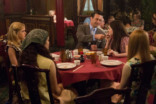 Kiernan Shipka as Sally Draper, Jon Hamm as Don Draper and  Madison McLaughlin as Sarah - Mad Men _ Season 7B, Episode 10 - Photo Credit: Michael Yarish/AMC