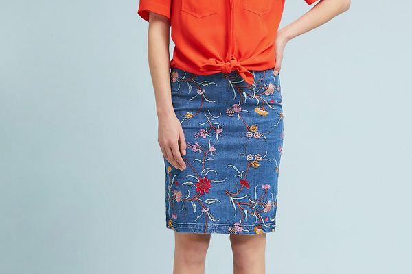 Maeve Embroidered Denim Pencil Skirt