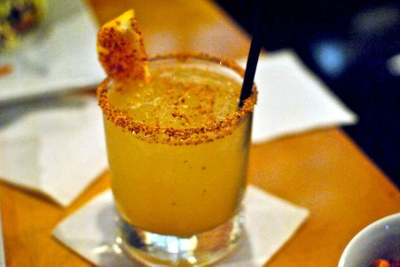 Mezcal, Ciroc peach, pineapple juice, chili lime candy.