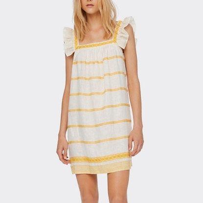 yellow stripe tory burch embroidered ruffle sleeveless dress