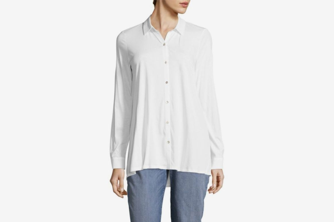 Eileen Fisher Classic Cotton Button-Down Shirt