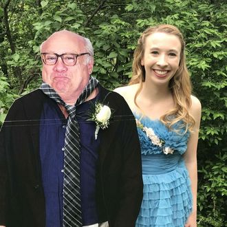 A cardboard cutout of Danny DeVito and Allison Closs.