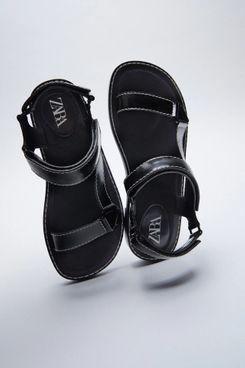 Zara Low-Heel Strap Sandals With Topstitching